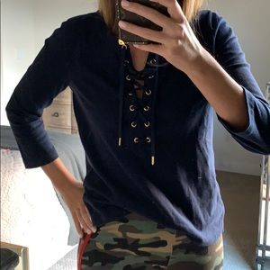 J crew lace up top